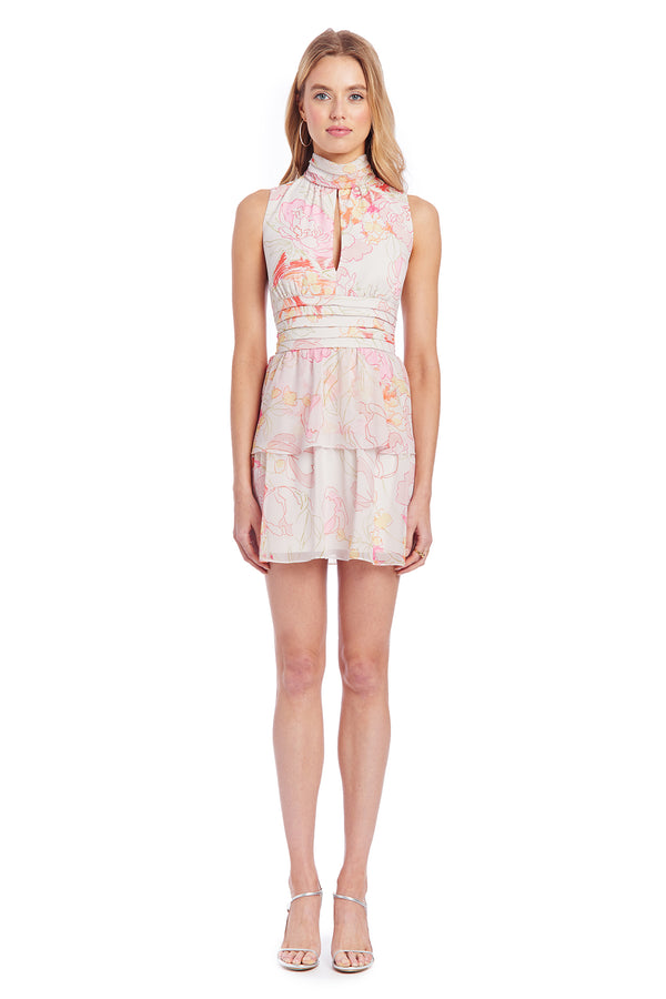 Amanda Uprichard Sleeveless Samira Dress - Pink Floral | Women's Dresses