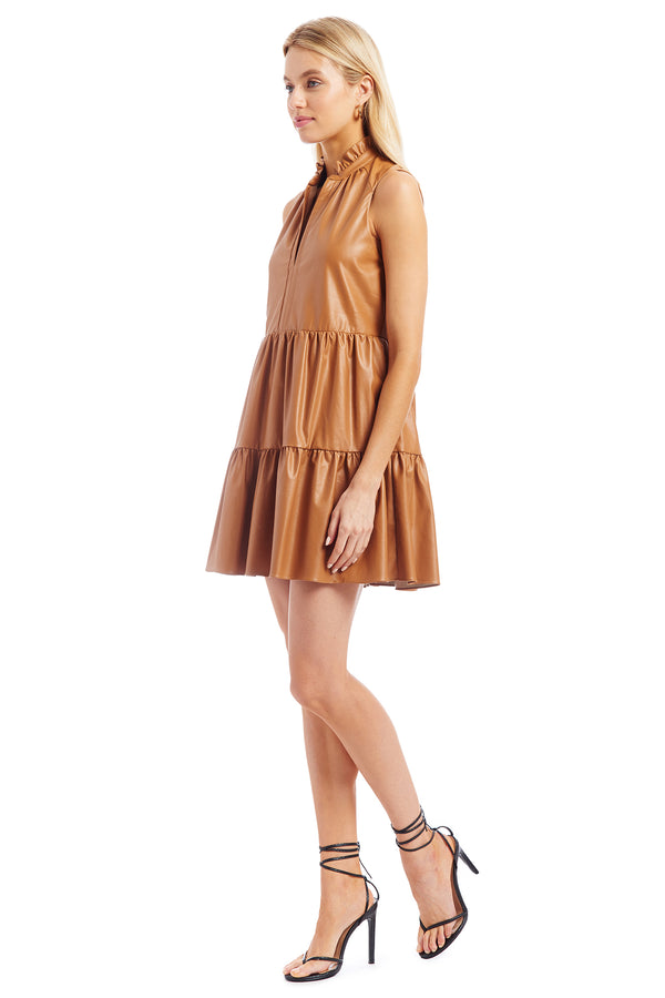 Sleeveless Saffron Dress in Faux Leather