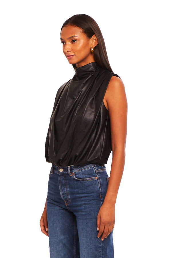 Sleeveless Fabienne Bodysuit in Faux Leather