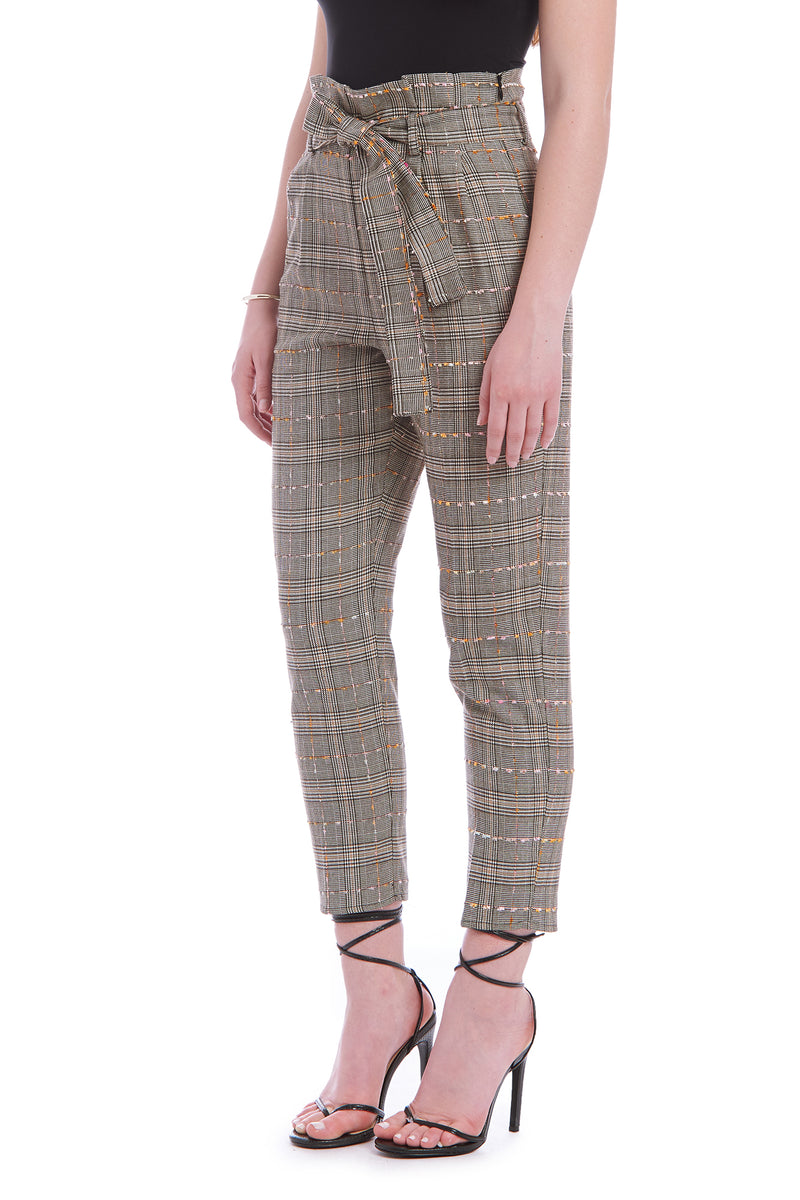 Amanda Uprichard Tessi Pants - Brown Plaid | Women's Pants  Edit alt text
