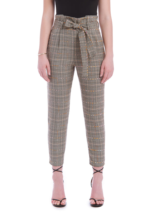 Amanda Uprichard Tessi Pants - Brown Plaid | Women's Pants