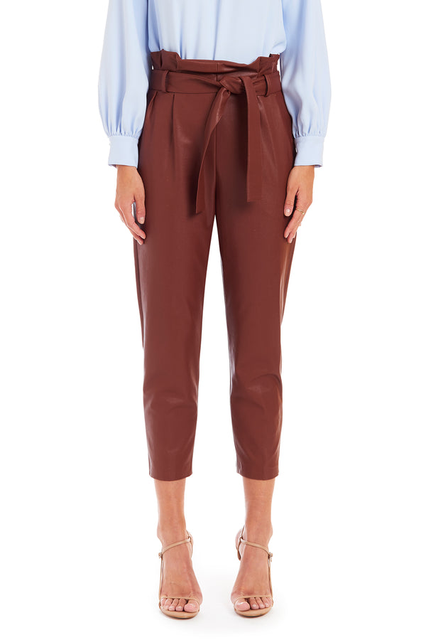 Amanda Uprichard Tessi Pant Pleather - Brown | Women's Bottoms