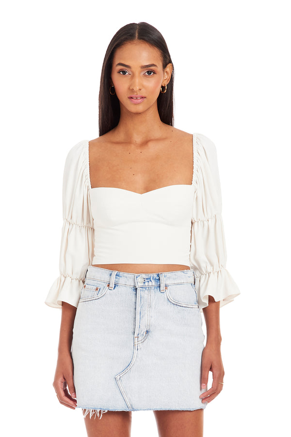 Amanda Uprichard Tia Top - Ivory | Women's Tops