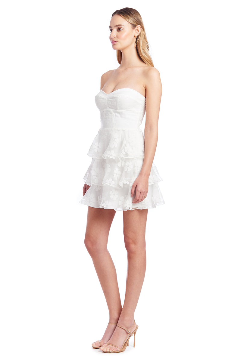 Amanda Uprichard Tiered Ruffle Dress - White Daisy | Women's Dresses