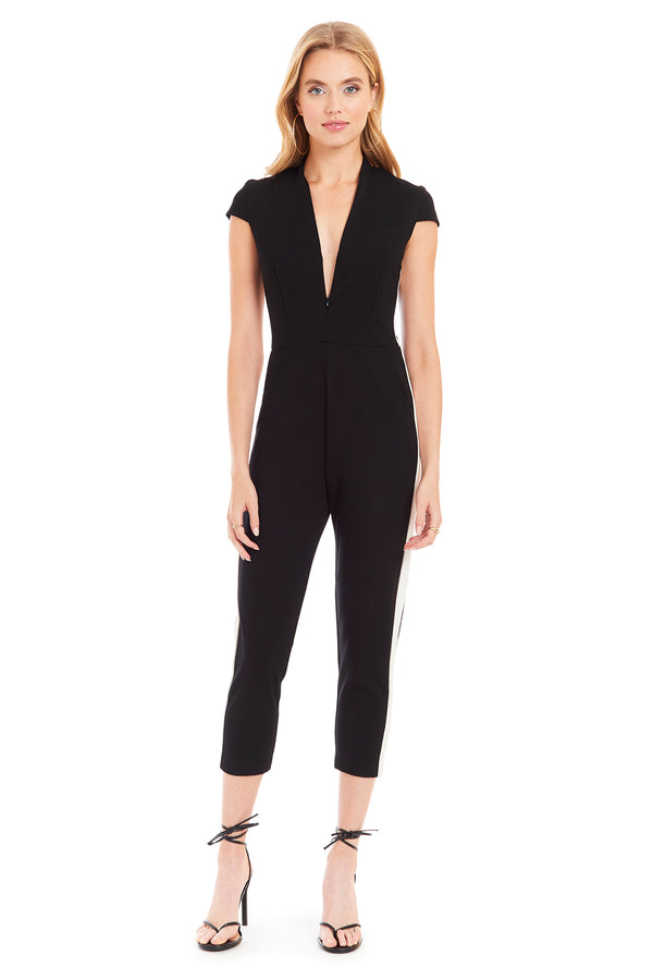 Amanda Uprichard Track Catsuit - Black | Women's Jumpsuits & Rompers