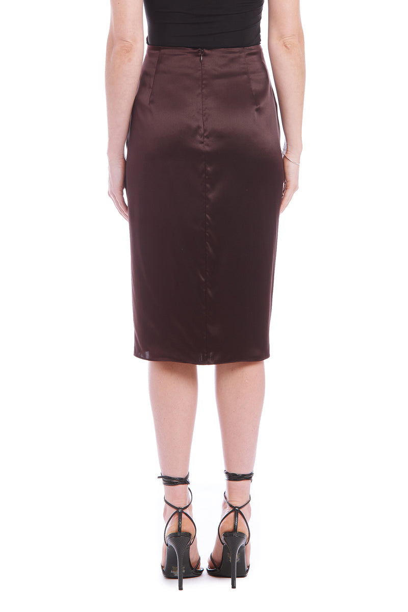 Amanda Uprichard Silk Wanda Skirt - Brown | Women's Skirts