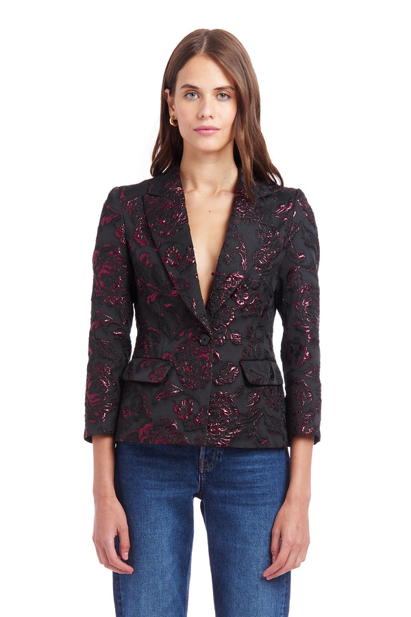 Amanda Uprichard Wickham Blazer - Black Multi | Women's Tops