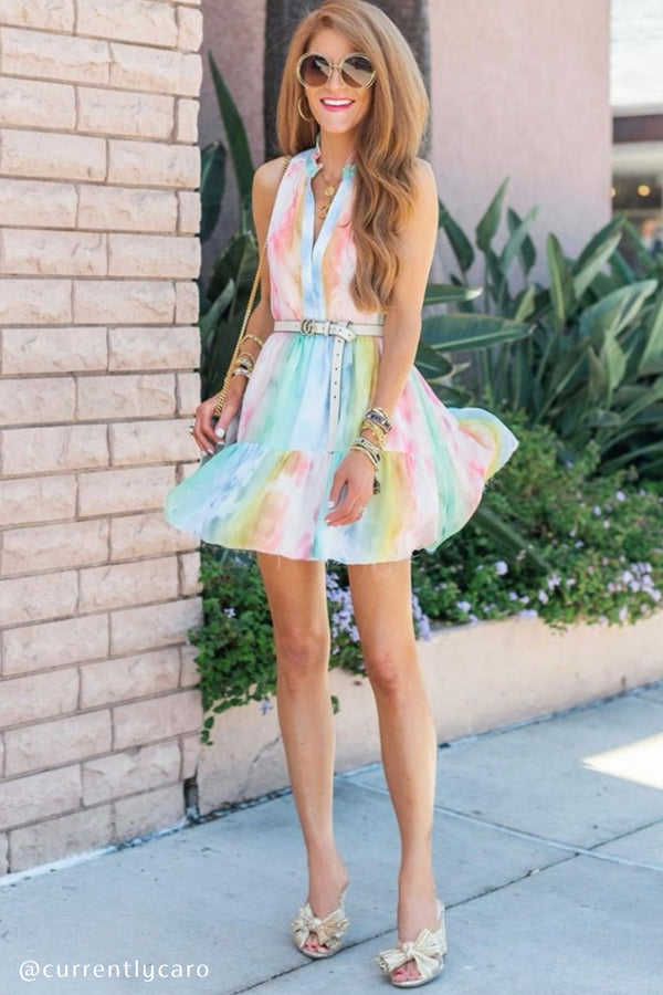 Sleeveless Saffron Dress - Rainbow Tie Dye