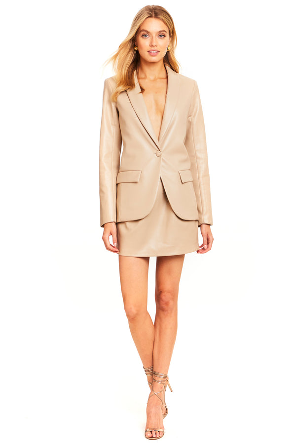 Jane Faux Leather Blazer