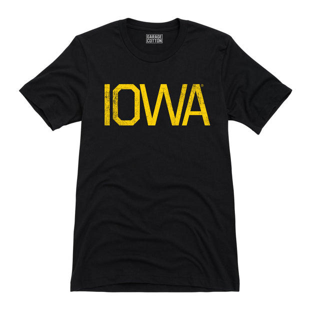 Yellow Iowa Men's Short Sleeve T-Shirt