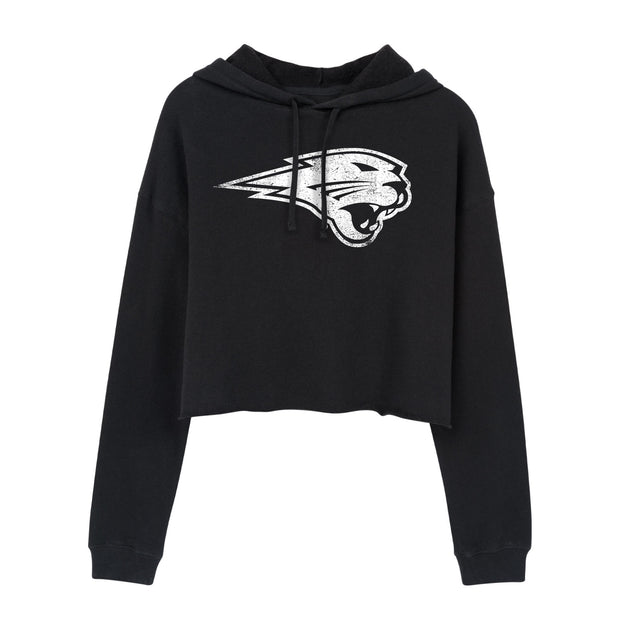 White Panther Logo Northern Iowa Women's Cropped Hoodie