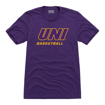 University of Northern Iowa - Block UNI Basketball - Men's T-Shirt - Purple