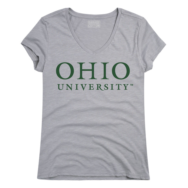 Ohio University Green Logo - Women's V-Neck T-Shirt