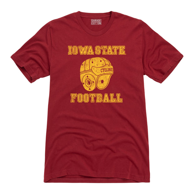 Iowa State Cyclones Football Leather Helmet Men's Short Sleeve T-Shirt