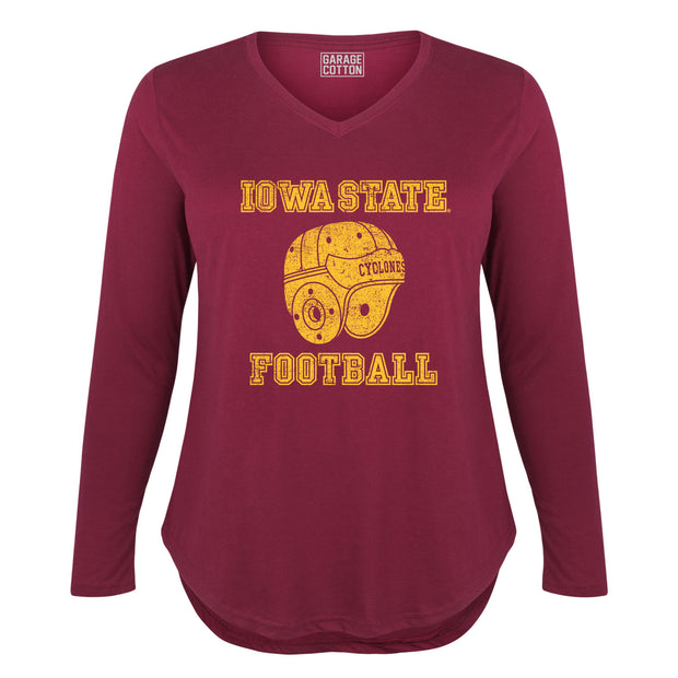 Iowa State Cyclones Football Leather Helmet Women's Plus Size Long Sleeve T-Shirt