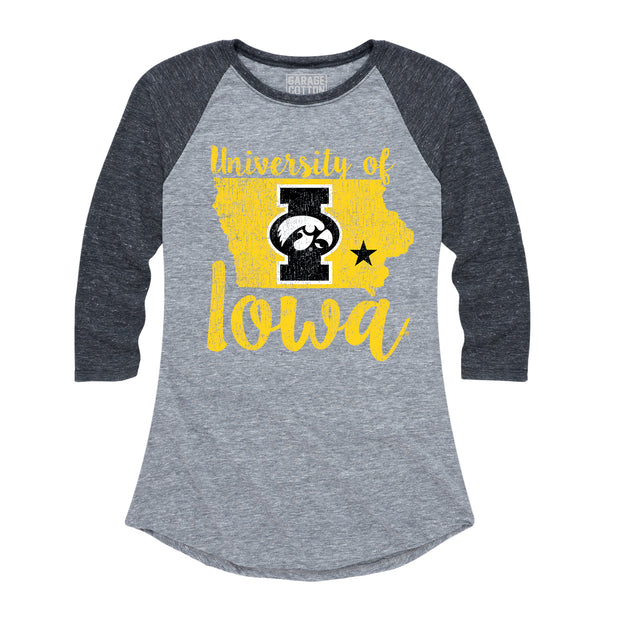 University Of Iowa Women's Raglan