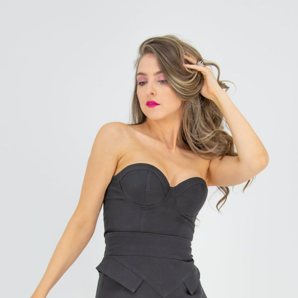 Business Meets Pleasure Strapless Padded Bustier Top - Black - Tia Dorraine London