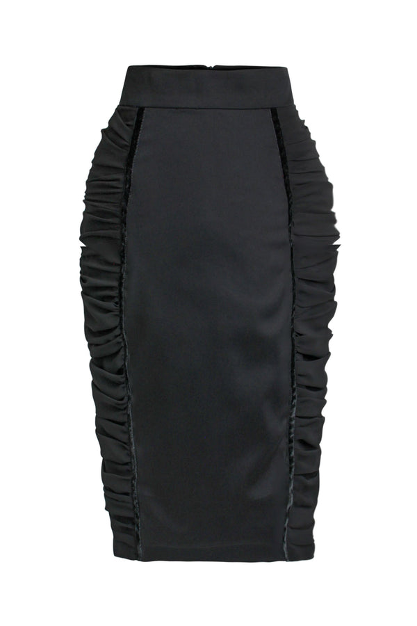 Centre Stage Ruched Bodycon Midi Skirt - Black - Tia Dorraine London