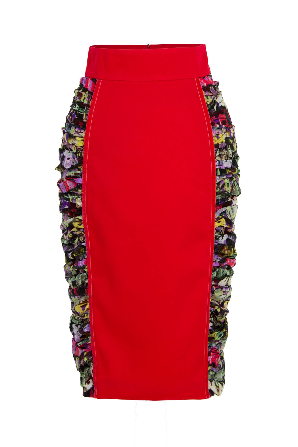 Centre Stage Ruched Bodycon Midi Skirt - Red - Tia Dorraine London