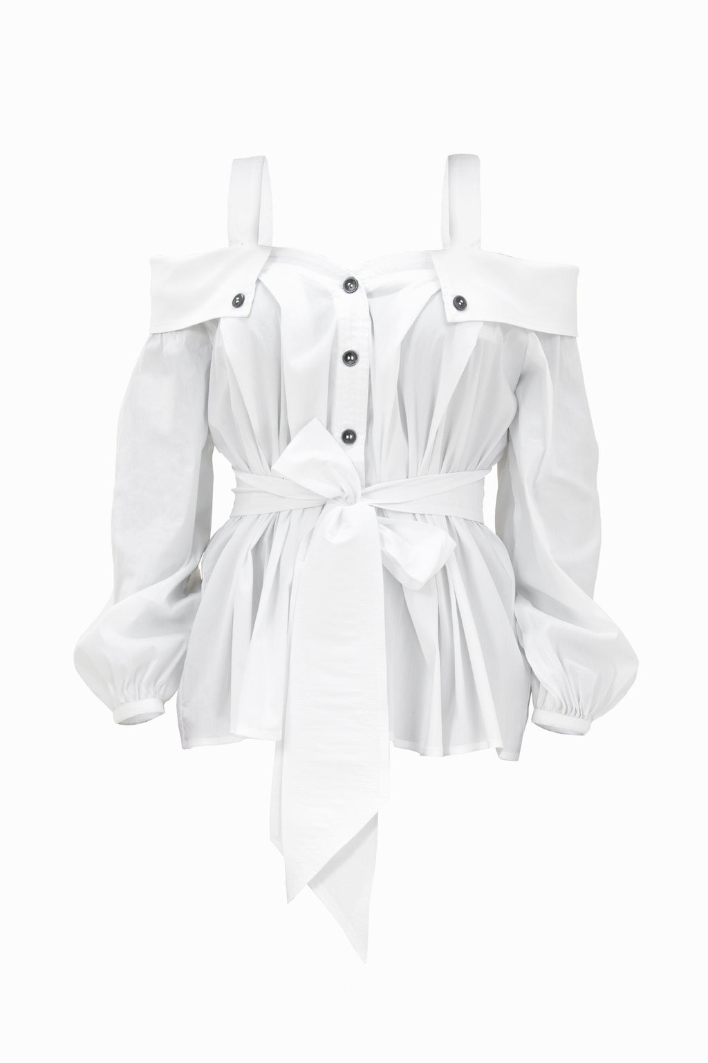 Classic Innovation Off-Shoulder White Cotton Shirt - Tia Dorraine London