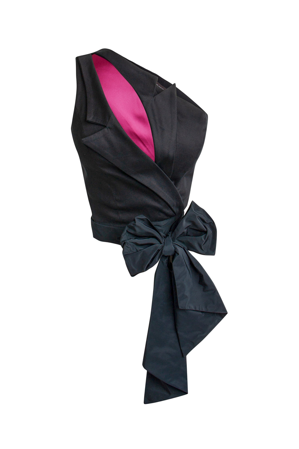 Corporate Elegance Blazer Inspired Self-Tie Top - Black - Tia Dorraine London
