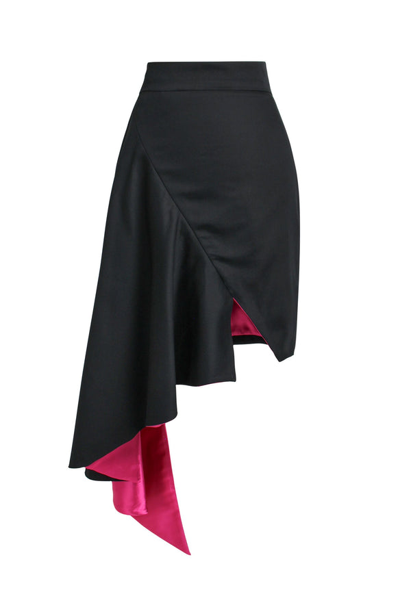 Corporate Elegance High-Rise Asymmetric Midi Skirt - Black - Tia Dorraine London