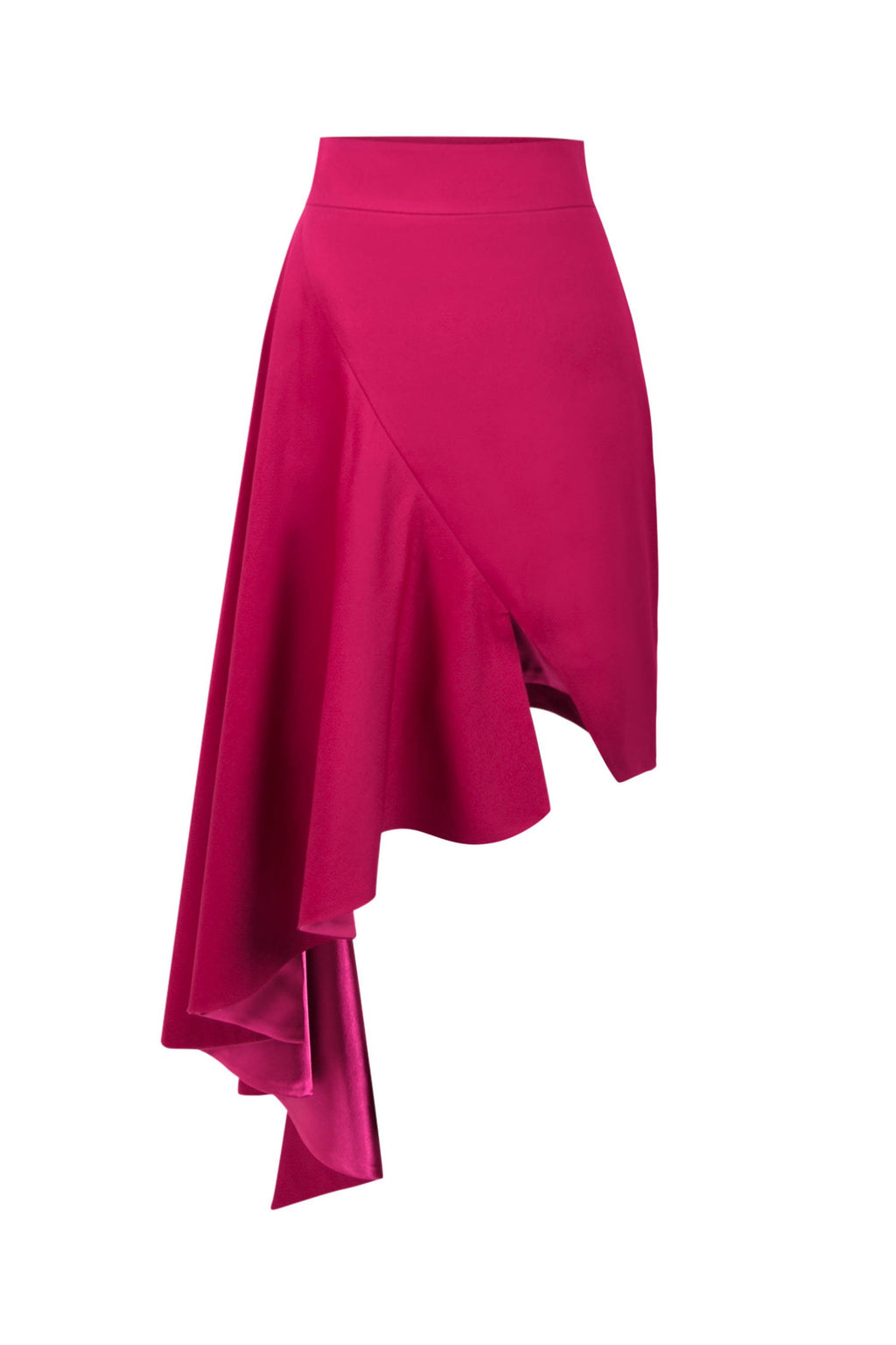 Corporate Elegance High-Rise Asymmetric Midi Skirt - Pink - Tia Dorraine London