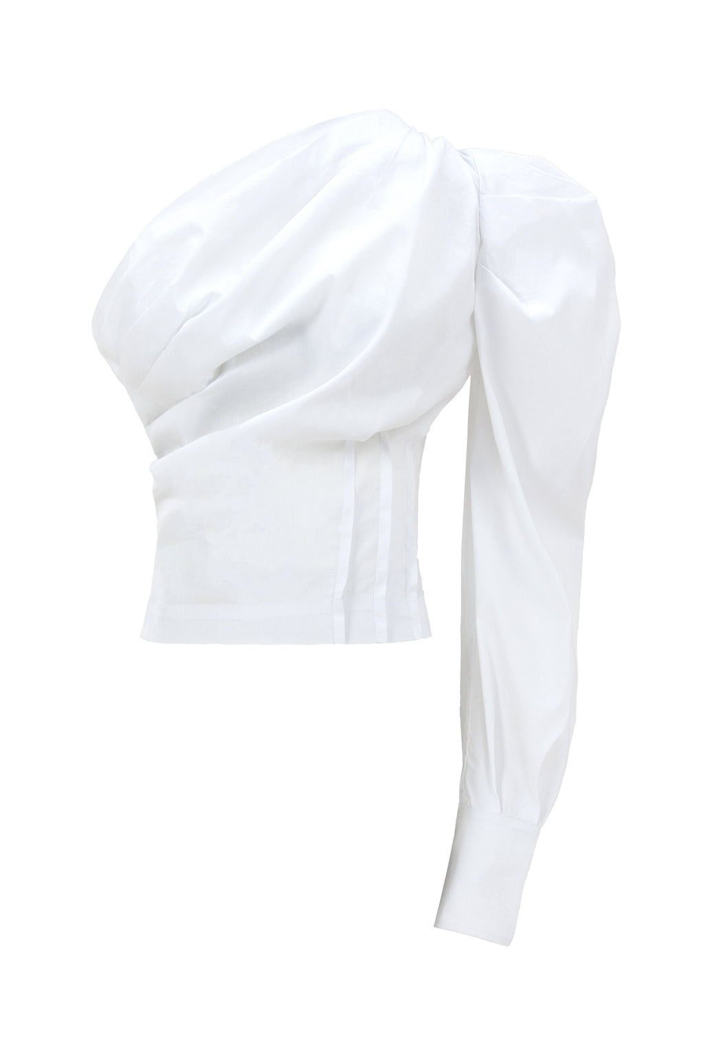 Double Identity One-Shoulder White Cotton Shirt - Tia Dorraine London