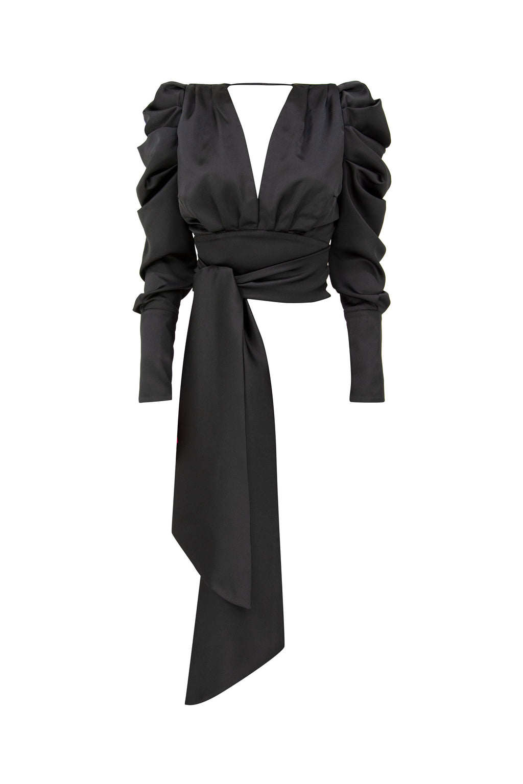 Edge of Desire Backless Self-Tie Satin Shirt - Tia Dorraine London