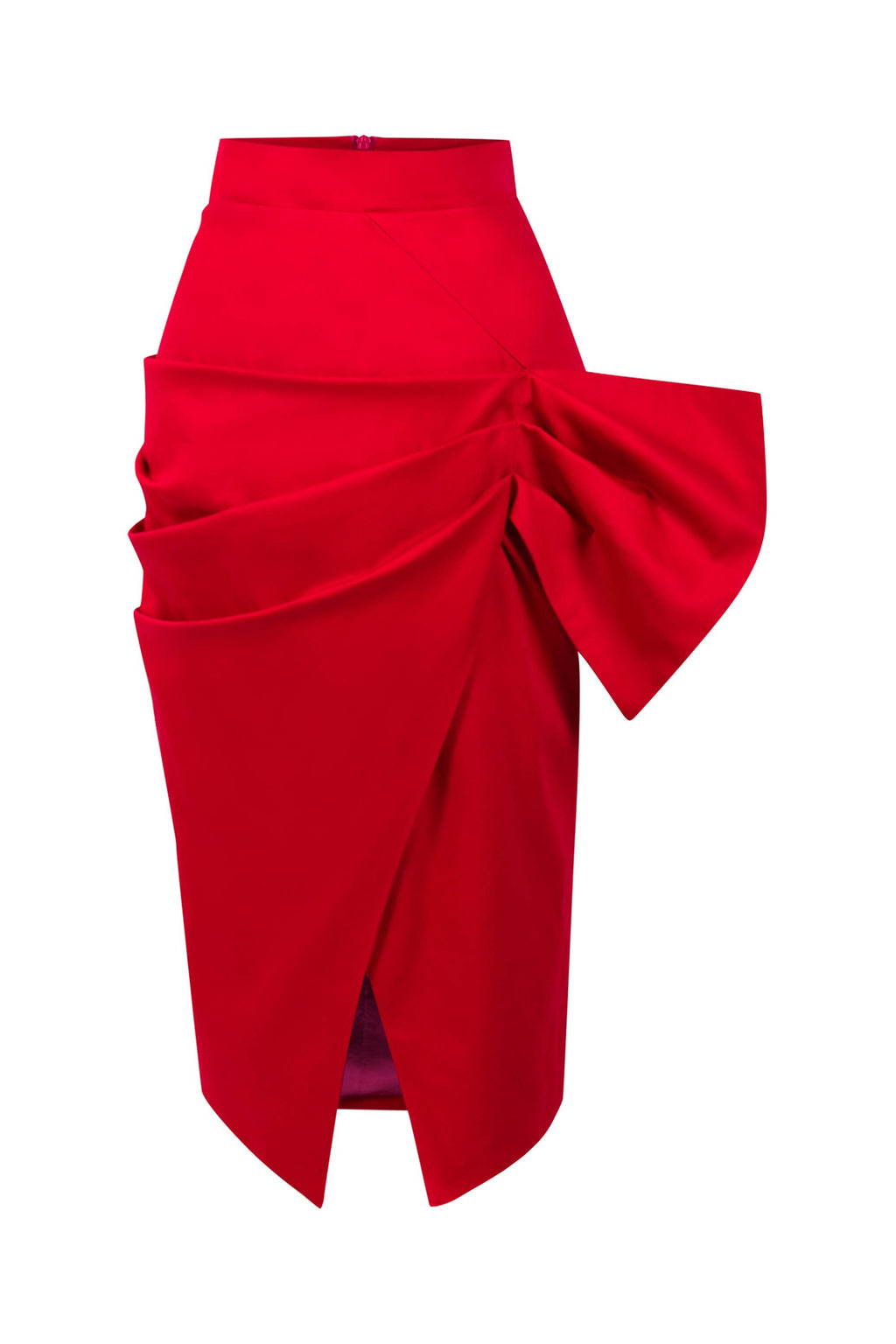 Glam Leisure Bodycon Wrap Midi Skirt - Red - Tia Dorraine London