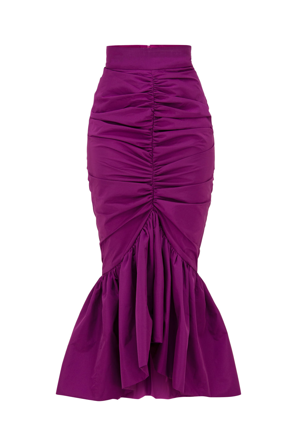 Purple Rain Ruffle Hem Ruched Bodycon Midi Skirt - Tia Dorraine London