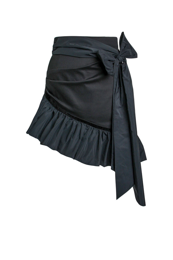 Ruffles Please High-Waisted Asymmetric Mini Skirt - Black - Tia Dorraine London