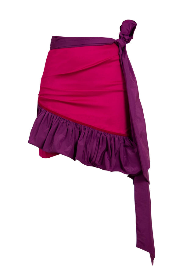 Ruffles Please High-Waisted Asymmetric Mini Skirt - Pink - Tia Dorraine London