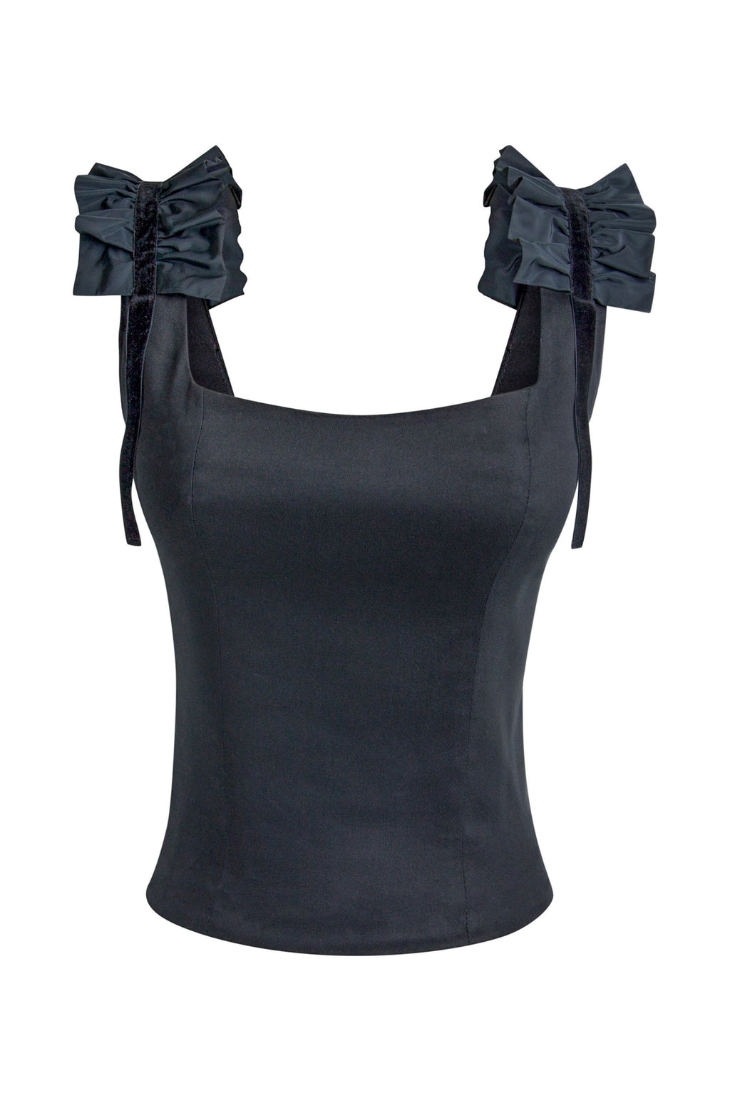 Ruffles Please Square Neckline Structured Top - Black - Tia Dorraine London