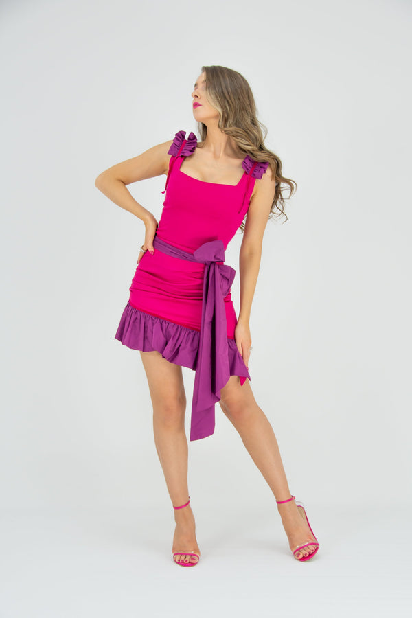 Ruffles Please Square Neckline StructuredTop - Pink - Tia Dorraine London