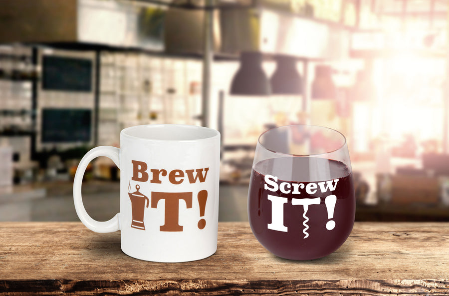 The Brew It & Screw It Drinkware Gift Set