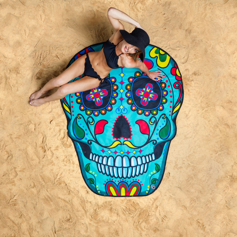 Giant Sugar Skull Beach Blanket