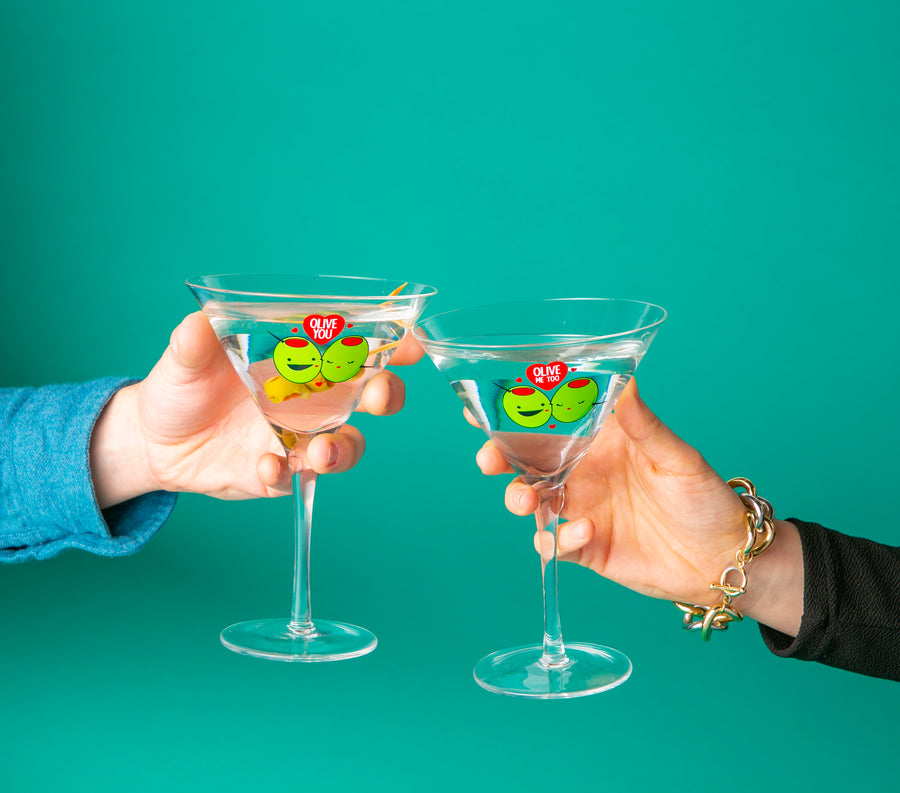 Olive You Martini Glass set of 2