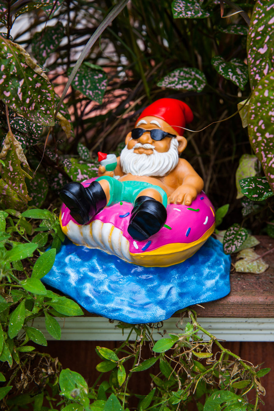 The Donut Worry Be Happy Garden Gnome