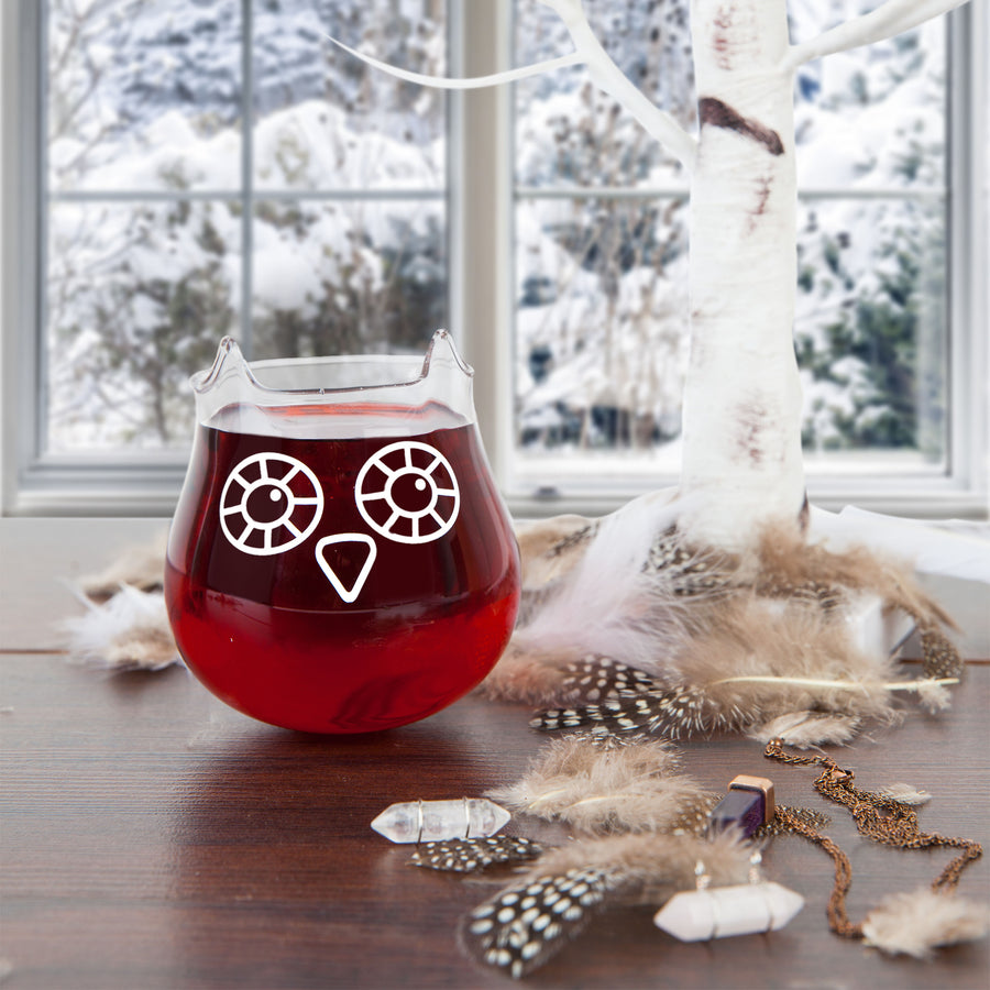 The Owl Stemless Wine Glass