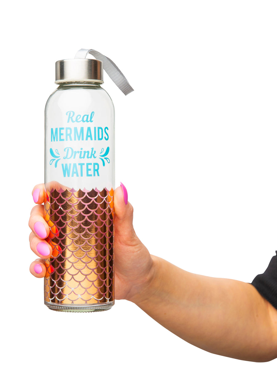 Mermaids Glass Water Bottle