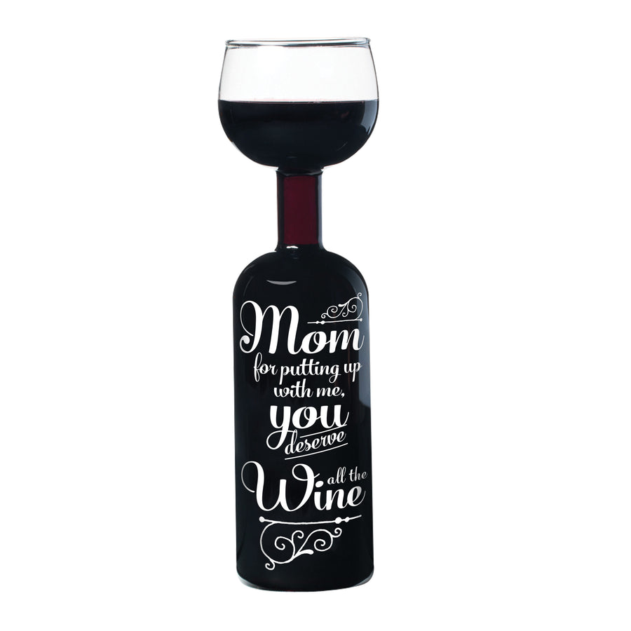 The Wine for Mom Wine Bottle Glass