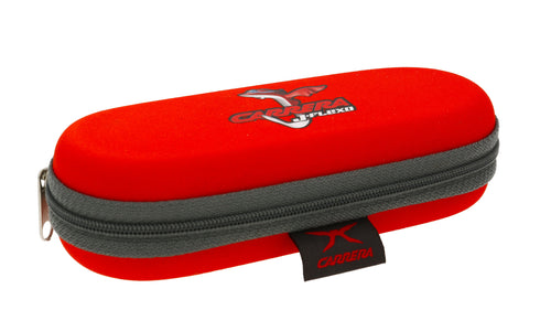 CARRERA Junior Sunglasses Case Zipped Red Childrens Kids 15cm x 6cm x 3cm