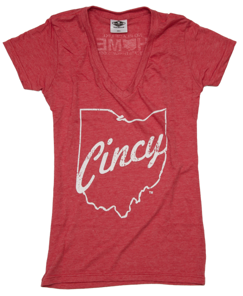 Ladies' Ohio V-Neck | Cincy Script | White
