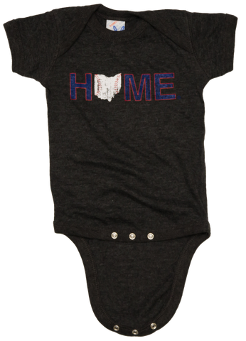 Ohio Home Baseball Onesie- Navy/Red/White