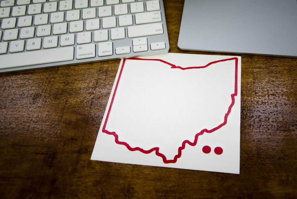 Ohio Outline Hometown Dot Sticker Red Bop Be Ohio Proud