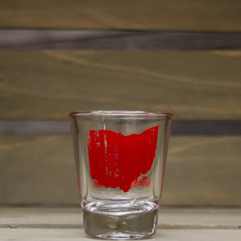 Vintage Ohio Shot Glass Red