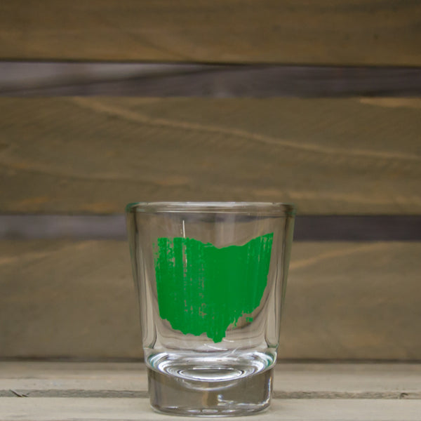 Vintage Ohio Shot Glass Green