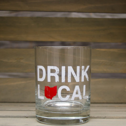 Drink Local Rocks Glass - Red