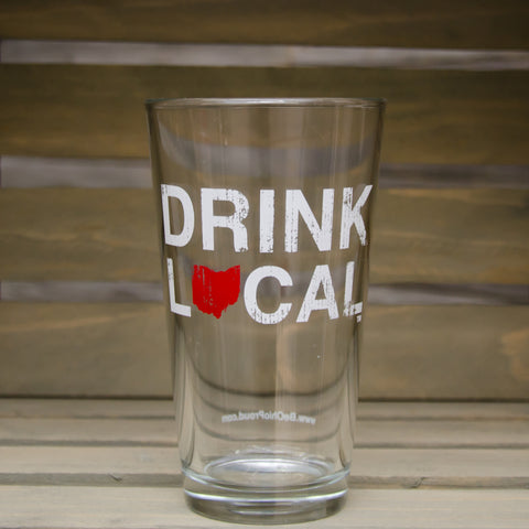 Drink Local Pint Glass Red/White